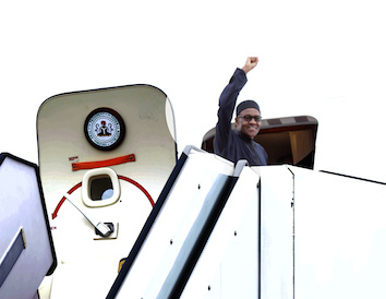 Buhari waves Bye for now