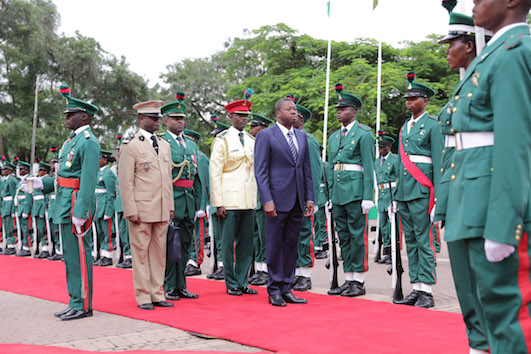 Gnassingbe inspects guard of honour