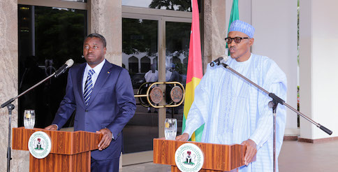 Buhari and Gnassingbe at a joint press conference in Abuja