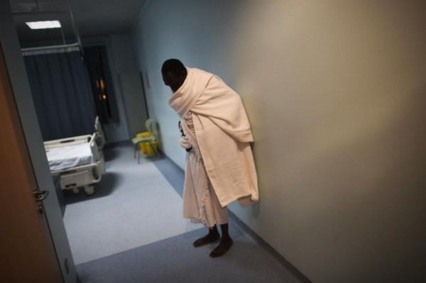 One of the pilgrims relaxes in hospital in Mina