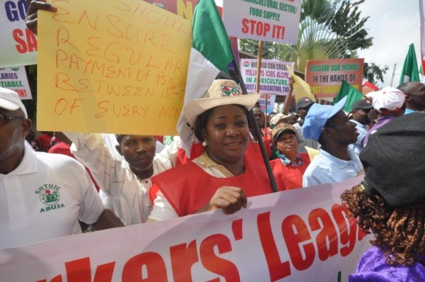 Labour unionists march in support of war against graft