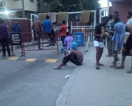UNILAG students  during the protest