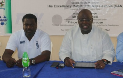 Vice chairman of the NFF, Seyi Akinwunmi (right) with     Chairman Futsal Worldwide Nigeria Limited, Moses Nwanze during the