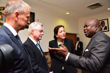 Ambode (right) discussing with the Ambassador of Republic of Germany to Nigeria, Mr. Michael Zenner (2nd left), Consul General of the Federal of Republic of Germany, Lagos, Mr. Ingo Herbert (left) and the Group Management Committee, Knauf Region Southern Europe, Middle East, Africa, Mrs. Isabel Knauf (2nd right)