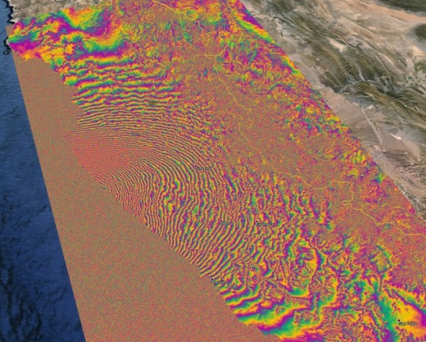 satellite images show earth displaced by 140cm after the 16 September quake in Chile