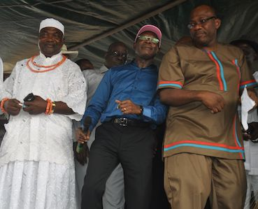 Governor Oshiomhole breaks out dancing with the defectors