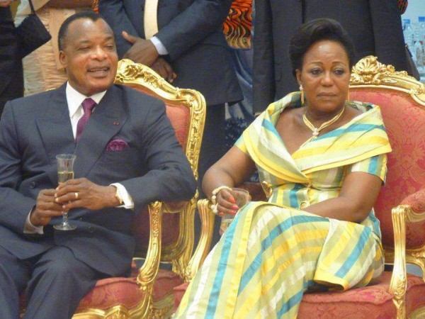 President Nguesso and wife, Antoinette: expected to win another term in office