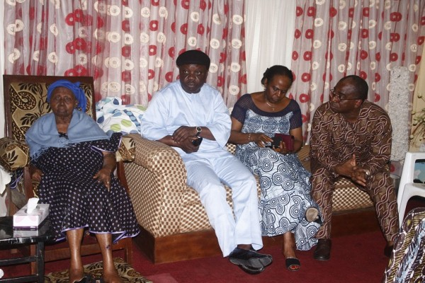 Ex-governor Emmanuel Uduaghan, second left, also visited Hannah Awolowo