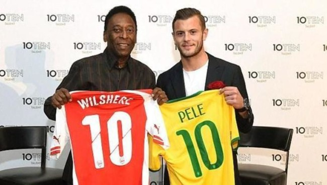 Pele with Arsenal's Wilshere