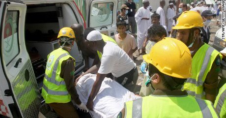 Saudi tragedy: another dead pilgrim being taken to the mortuary