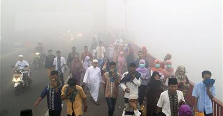 Indonesia haze caused by forest fire