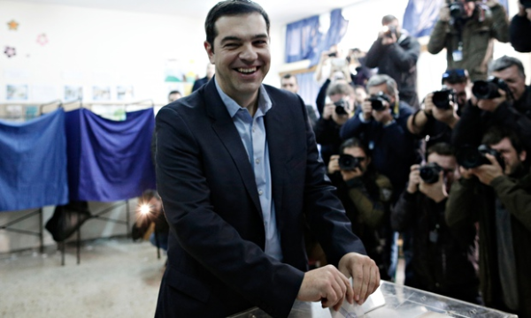 Tsipras voting at the last referendum