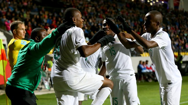 Nigeria's Golden Eaglets jubilate after another goal