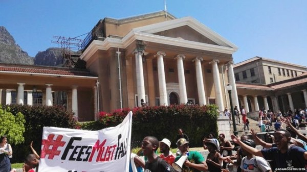 South African students protest fee hike. Photo:@adamoosthuizen