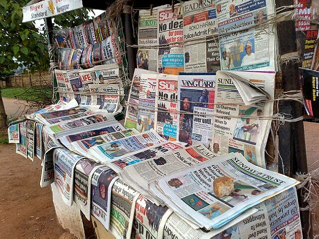 A typical Nigerian newspaper stand. Where are the buyers?
