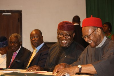 L-R: Former Chairman, Interim National Government, Chief Ernest Shonekan; former Lagos State Commissioner for Finance, Mr wale Edun;  immediate past Governor of Ekiti State/Guest Speaker, Dr Kayode Fayemi;  and former Commonwealth Secretary- general and Chairman of occasion, Chief Emeka Anyaoku at the 2015 Akintola Williams Distinguished Lecture held at the Muson Centre, Lagos …on Thursday