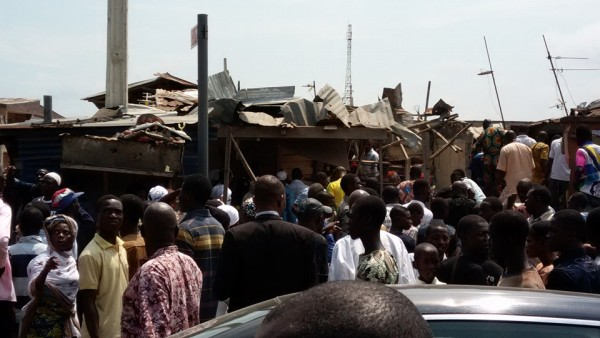 The crowd at the scene of the blast