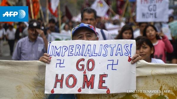 Protesters in Peru. AFP Photo