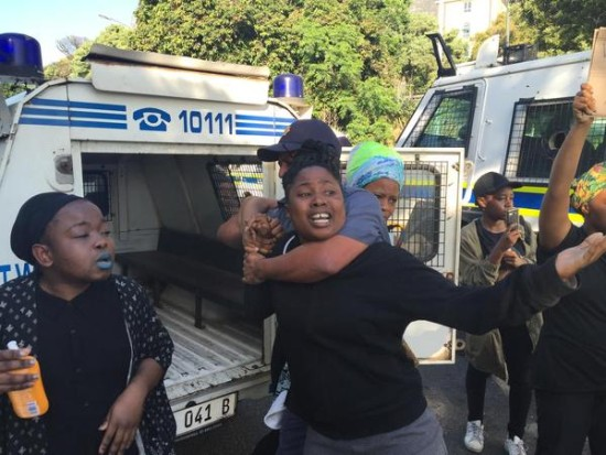 A female student being arrested by SA police. Photo: Cape Argus
