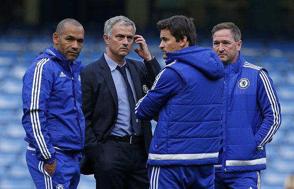 Jose Mourinho and crew after the match at Stamford Bridge; The last meeting