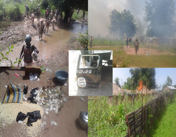 Composite photo shows Nigerian soldier mopping up abandoned camps by Boko Haram