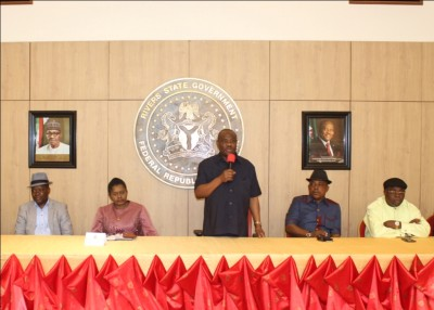 Gov Wike addressing the people at government House, Port Harcourt.