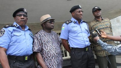 R-L: Director, State Security Service, Mr. Adekunle Ajanaku; Lagos State Commissioner of Police, Mr. Fatai Owoseni; Chief of Staff to the Governor, Mr. Olukunle Ojo and Deputy Commissioner of Police, Operations, Mr. Johnson Kokumo, briefing the press shortly after an emergency State Security Council meeting on criminal activities in Ikorodu area of the State, at the Lagos House, Ikeja