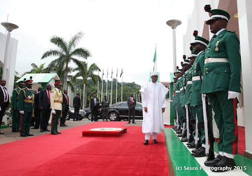 Buhari inspects the Guard of Honour