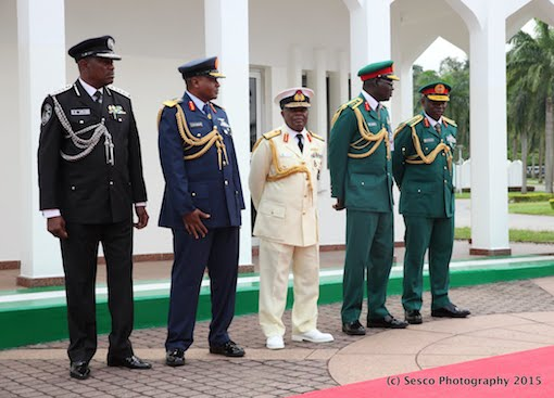 Service chiefs wait for their Commander-in-Chief