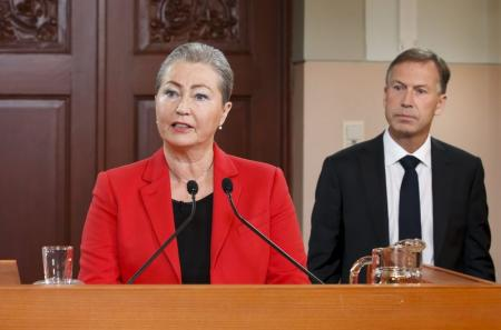 Kaci Kullmann Five, the new head of the Norwegian Nobel Peace Prize Committee, announces the winner of 2015 Nobel Peace Prize during a news conference in Oslo, Norway, October 9, 2015. REUTERS/Heiko Junge/NTB Scanpix