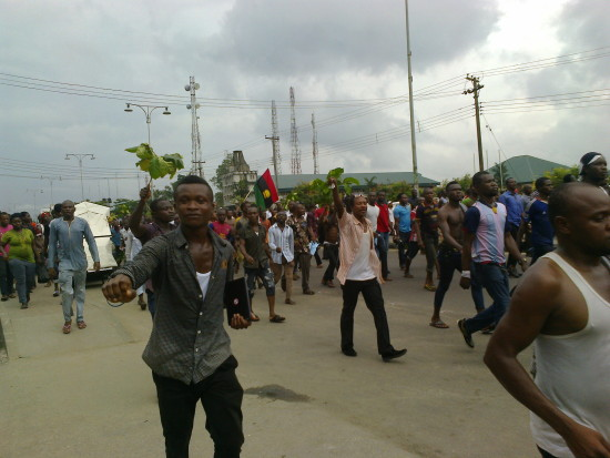The protesters on Port Harcourt streets today