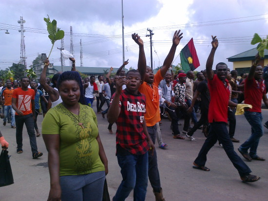 Massob members on the march for Kanu