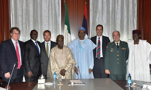 Obasanjo, Colombian security experts with  President Buhari