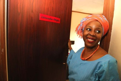 Obiageli, Okigbo's daughter, unveiling the room dedicated to her late father.