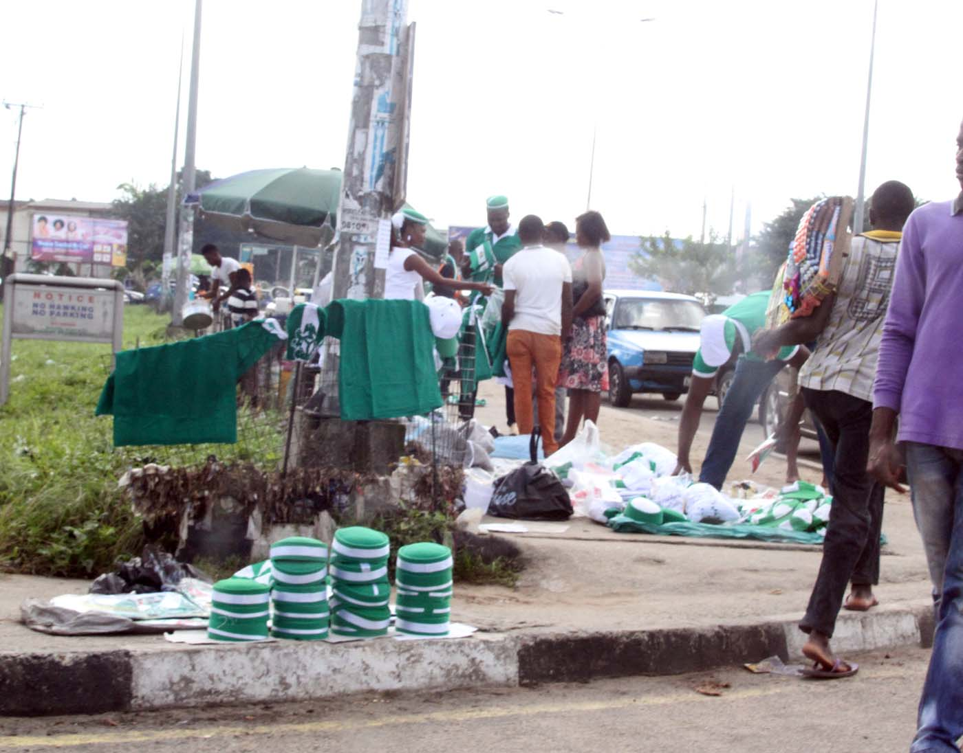 Items made in Nigerian colors to Comemorate the Country's 55th Independence anniversary on display for sale at the Liberation Stadium, Elekahia Port Harcourt,  in Rivers State. Photo: Nwankpa Chijioke