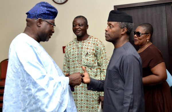 FROM LEFT. CHIEF ACCOUNTANT UNIVERSITY OF JOS, MR. KEFAS BISE ; DEPUTY NATIONAL PRESIDENT , SENIOR STAFF ASSOCIATION OF NIGERIAN  UNIVERSITIES  (SSANU); VICE PRESIDENT YEMI OSINBAJO AND  NATIONAL PRO, SSANU , COMRADE NAD ABORIBO  DURING  A COURTESY VISIT BY SSANU AT THE PRESIDENTIAL VILLA IN ABUJA