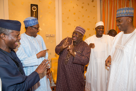 Buhari, Osinbajo exchanging  banters with the lawmakers