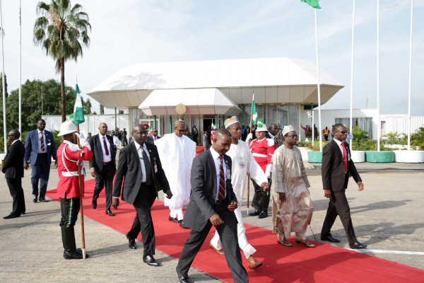 Buhari leaves to board the presidential plane