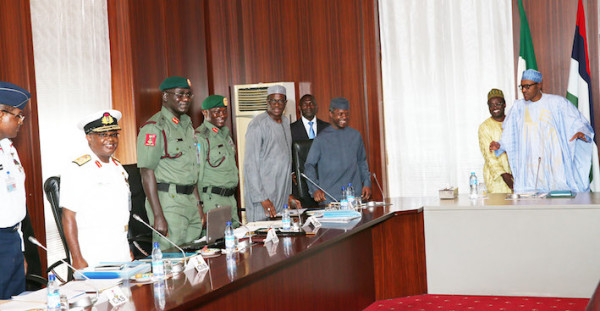 R-L; President Muhammadu Buhari, Vice President Yemi Osinbajo, Permanent Secretary Alhaji Ismaila Aliyu, Chief of Defence Staff, General Abayomi Gabriel Olonisakin, Chief of Army Staff, Lt General T.Y. Buratai, Chief of Naval Staff, Vice Admiral Ibok-Ete Ekwe Ibas and Chief of Air Staff, Air Marshal Sadique Abubakar during a meeting with the Service Chiefs at the State House in Abuja.