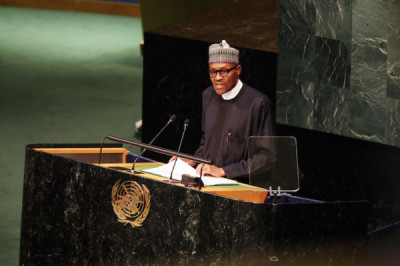 """President Buhari addressing the UN. According to Alalade: """"My concern is that the hullabaloo around an African seat on the Security Council detracts from what ought to be our most urgent strategic engagements as Africans in our entrenched subservience. Africa should not be cast in the role of Meka in Ferdinard Oyono's Old Man and the Medal. As the largest aggregation of black humanity on Earth, Nigeria should lead the charge in the revolutionary transformations required in the long duree to actualize a vision of truly emancipated black humanity."""""""