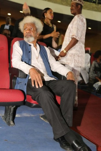 """Prof Wole Soyinka: """"This is not one of the butterfly books. No, it is not a butterfly book. It is meant to draw blood. I am warning all of you. It is so truthful and hurts. It is the nastiest book I've written. It is my vengeance against public lies,""""  . Photo Idowu Ogunleye"""
