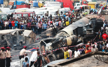 File Photo: a tanker fire in Lagos
