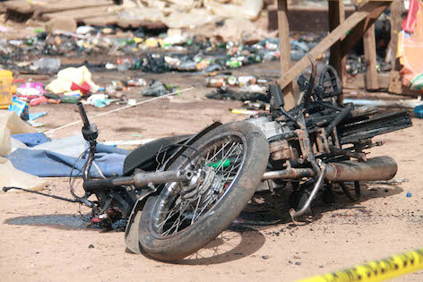 A bomber's bike left at a scene of bloodshed