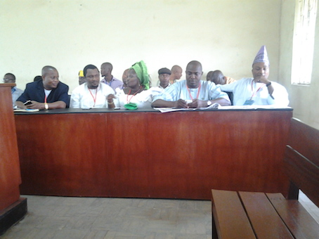 Tola Banjo, right and other APC leaders in court today