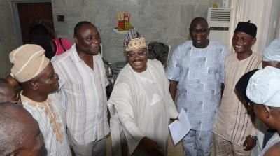 Gov Abiola Ajimobi and memebrs of  the state house of Asembly rejoicing over the victory at the tribunal