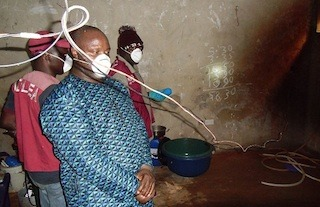 An NDLEA official in a meth lab