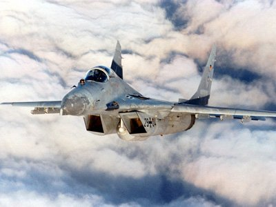 A Russian MIG-29 Fighter jet in Syrian skies
