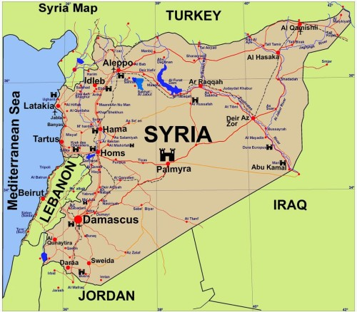 Syrian map, showing Aleppo in the Northwest