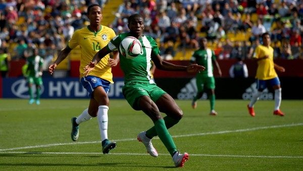 Osimhen and Eder Militia of Brazil battle for the ball