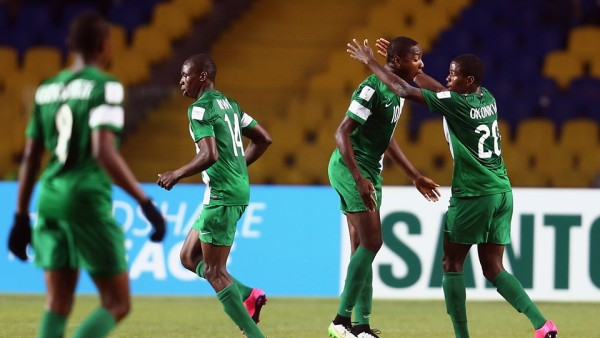 Kelechi Nwakali, second right, rejoices with team mate